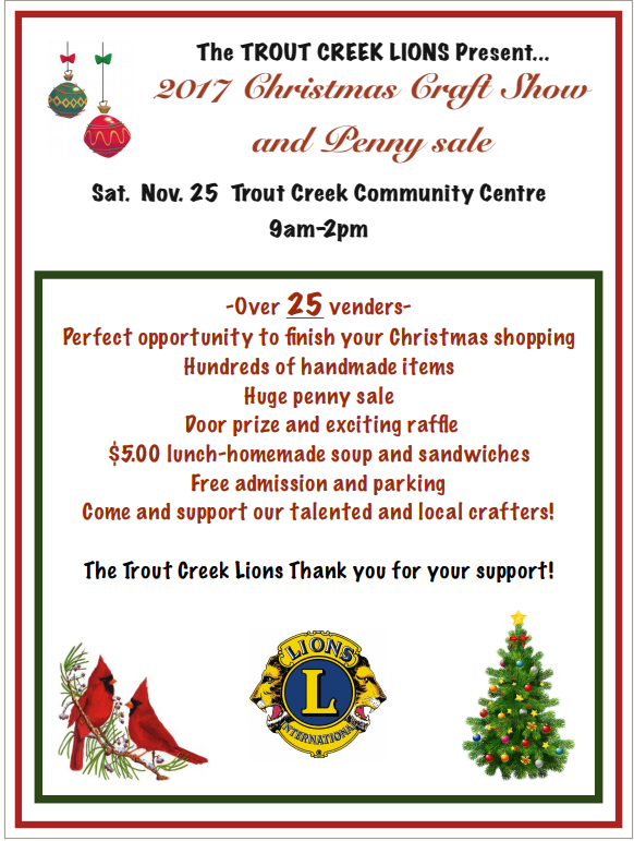 Christmas Craft Show Items.Trout Creek Lions Christmas Craft Show Nov 25th Lions